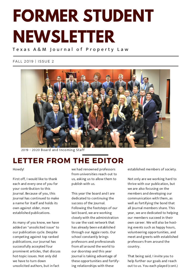 2019 JPL Former Student Newsletter Page One