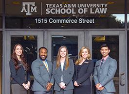 Students in front of Texas A&M School of Law