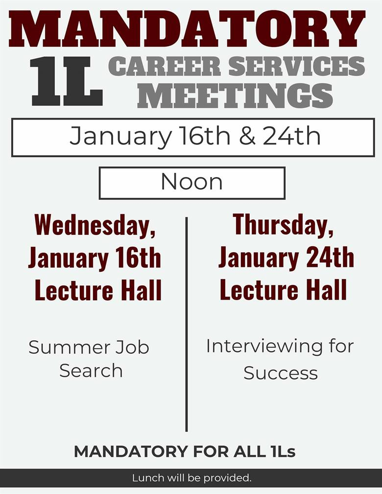 Career Services 1L Meetings Spring 2019