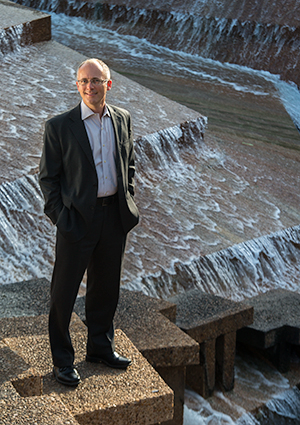Texas A&M School of Law Professor Gabriel Eckstein in the Fort Worth Water Gardens